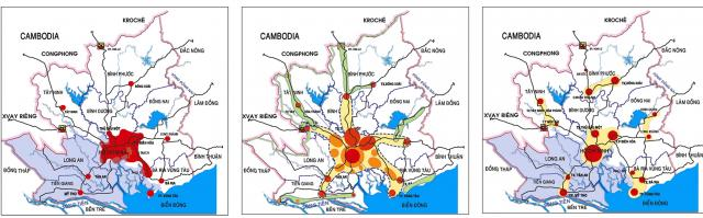 Maps of Ho Chi Minh City Centre: (left) Alternative 1: Concentration; (middle) Alternative 2: Deconcentration; (right) Alternative 3: Decentralisation